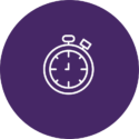 Clock in purple circle